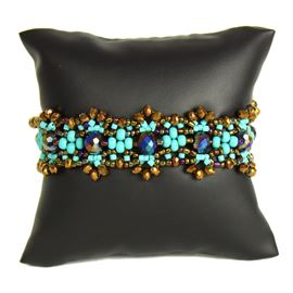 Crystalicious Bracelet - #131 Turquoise and Bronze, Double Magnetic Clasp!