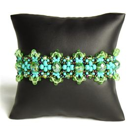 Crystalicious Bracelet - #145 Turquoise and Green Iris, Double Magnetic Clasp!