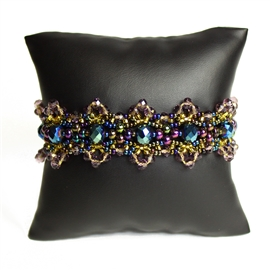 Crystalicious Bracelet - #246 Iris, Gold, Purple/Green, Double Magnetic Clasp!
