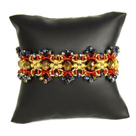 Crystalicious Bracelet - #538 Red and Gold, Double Magnetic Clasp!