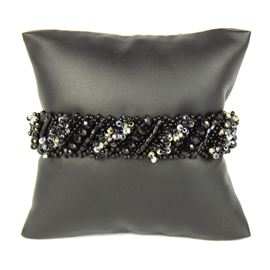 Diagonal Bracelet - #102 Black and Crystal, Double Magnetic Clasp!