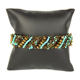 Diagonal Bracelet - #131 Turquoise and Bronze, Double Magnetic Clasp!