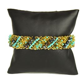 Diagonal Bracelet - #132 Turquoise and Gold, Double Magnetic Clasp!