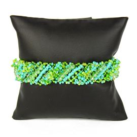Diagonal Bracelet - #134 Turquoise and Lime, Double Magnetic Clasp!