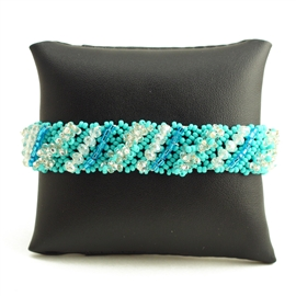 Diagonal Bracelet - #135 Turquoise and Crystal, Double Magnetic Clasp!