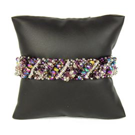 Diagonal Bracelet - #172 Purple and Crystal, Double Magnetic Clasp!