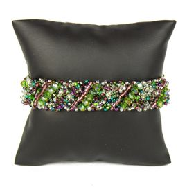 Diagonal Bracelet - #288 Purple, Green, Crystal, Double Magnetic Clasp!