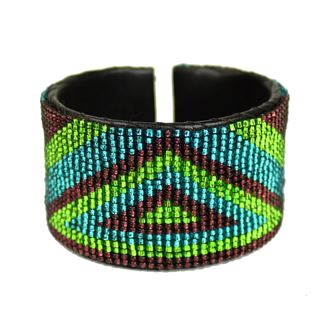 Triangle Cuff - #105 Purple and Green