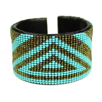 Triangle Cuff - #131 Turquoise and Bronze