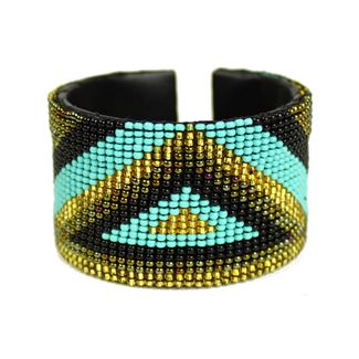 Triangle Cuff - #132 Turquoise and Gold
