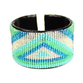 Triangle Cuff - #135 Turquoise and Crystal