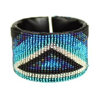 Triangle Cuff - #170 Blue and Crystal