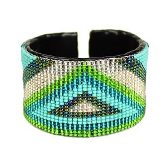 Triangle Cuff - #482 Turquoise, Crystal, Lime