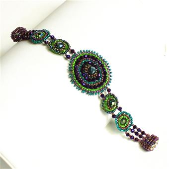 Crystal Canasta Bracelet - #105 Purple and Green, Double Magnetic Clasp!