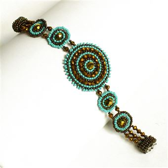 Crystal Canasta Bracelet - #131 Turquoise and Bronze, Double Magnetic Clasp!