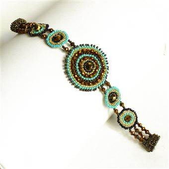 Crystal Canasta Bracelet - #132 Turquoise and Gold, Double Magnetic Clasp!