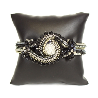Crystal Knot Bracelet - #102 Black and Crystal, Double Magnetic Clasp!