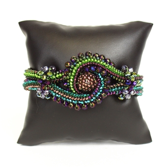 Crystal Knot Bracelet - #105 Purple and Green, Double Magnetic Clasp!