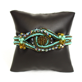 Crystal Knot Bracelet - #131 Turquoise and Bronze, Double Magnetic Clasp!
