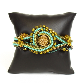 Crystal Knot Bracelet - #132 Turquoise and Gold, Double Magnetic Clasp!