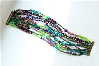 10 Strand Color Block Bracelet - #105 Purple and Green