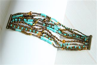 10 Strand Color Block Bracelet - #131 Turquoise and Bronze