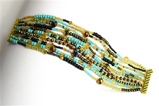 10 Strand Color Block Bracelet - #132 Turquoise and Gold