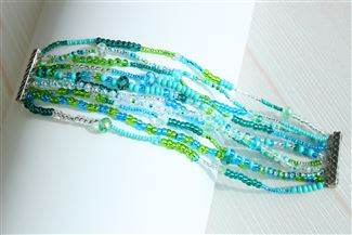 10 Strand Color Block Bracelet - #135 Turquoise and Crystal