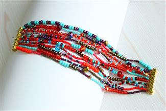 10 Strand Color Block Bracelet - #138 Turquoise and Red