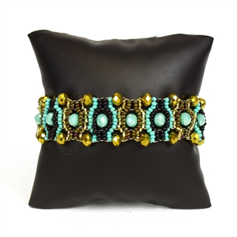 Crystal Eye Bracelet - #132 Turquoise and Gold, Magnetic Clasp!