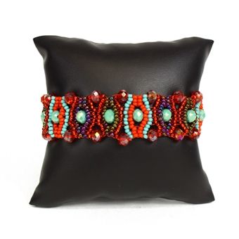 Crystal Eye Bracelet - #138 Turquoise and Red, Magnetic Clasp!