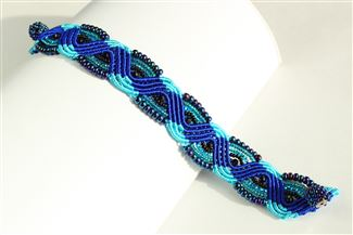 Woven Bracelet with Crystals - #108 Blue, Magnetic Clasp!
