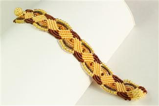 Woven Bracelet with Crystals - #113 Sand, Magnetic Clasp!