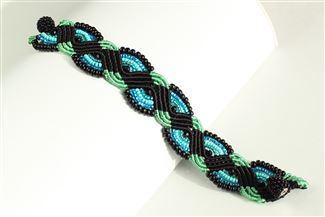 Woven Bracelet with Crystals - #133 Turquoise and Black, Magnetic Clasp!