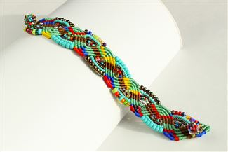 Woven Bracelet with Crystals - #153 Turquoise, Bronze, Multi, Magnetic Clasp!