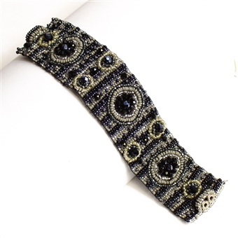 9 Circles Bracelet - #102 Black and Crystal, Double Magnetic Clasp!