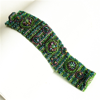 9 Circles Bracelet - #105 Purple and Green, Double Magnetic Clasp!