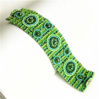 9 Circles Bracelet - #134 Turquoise and Lime, Double Magnetic Clasp!