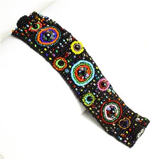 9 Circles Bracelet - #151 Black and Multi, Double Magnetic Clasp!