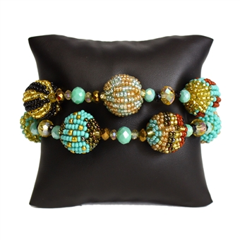 Fiesta Bracelet - #132 Turquoise and Gold, Magnetic Clasp!