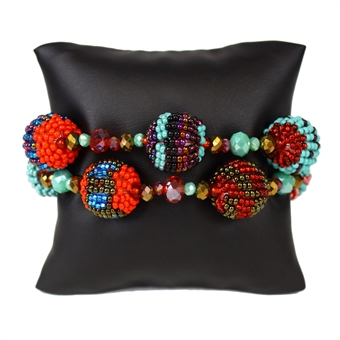 Fiesta Bracelet - #138 Turquoise and Red, Magnetic Clasp!