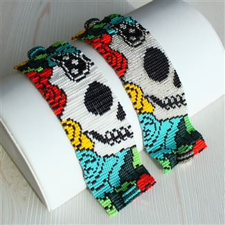 Day of the Dead Bracelet #2 - Turquoise and Black