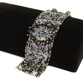 Cabochon with Crystals Bracelet - #102 Black and Crystal, Double Magnetic Clasp!