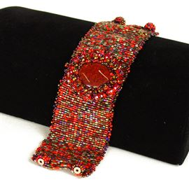 Cabochon with Crystals Bracelet - #111 Red Garnet, Double Magnetic Clasp!