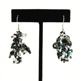 Fuzzy Earrings - #102 Black and Crystal