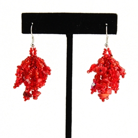 Fuzzy Earrings - #110 Red Coral