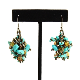 Fuzzy Earrings - #131 Turquoise and Bronze