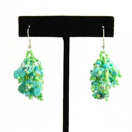 Fuzzy Earrings - #134 Turquoise and Lime