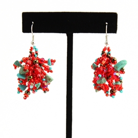 Fuzzy Earrings - #138 Turquoise and Red