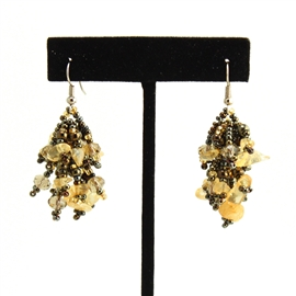Fuzzy Earrings - #236 Bronze and Citrine